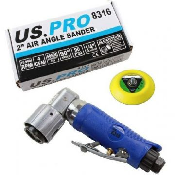 "2"" Air Angle Sander Velcro Backed Pad 90° Detailing Head US PRO 8316"